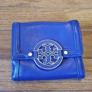 Tory Burch Zip Wallet Blue Leather